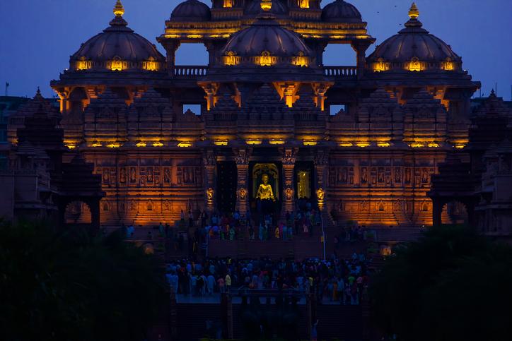 Delhi India. Delhi. The temple Akshardham in evening illumination