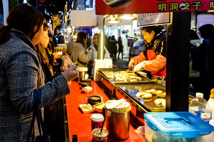 Korean street food at the Gwangjang Market in Seoul, things to do