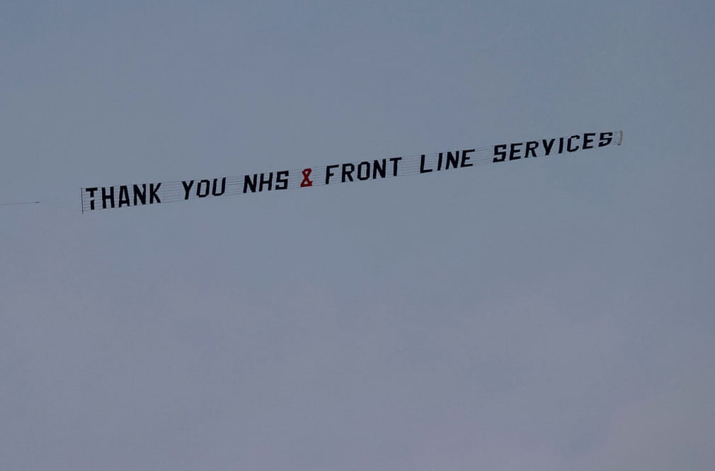 A banner thanking the frontline warriors