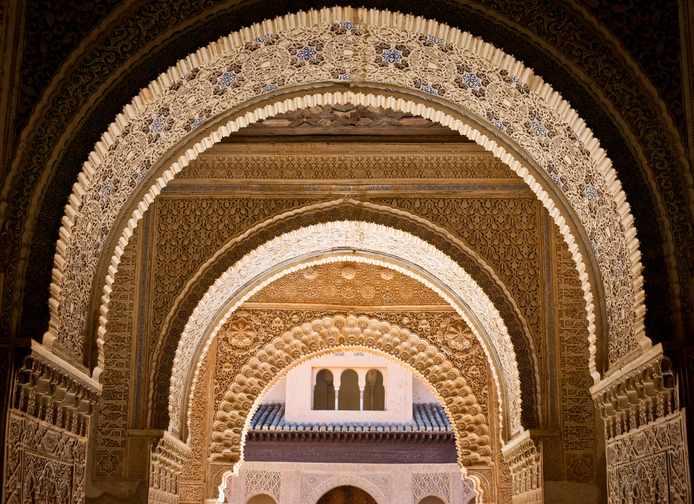 Ornate decoration at the Albambra Palace in Granada, Spain