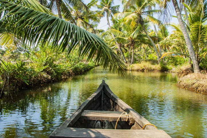 Boat trip through the backwater canals of Munroe Island in Kollam in India, island in India