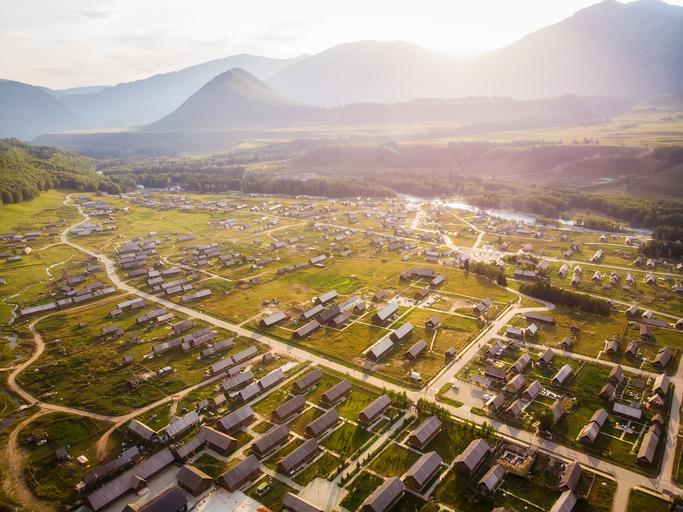 Aerial view of Hemu village, Xinjiang, China