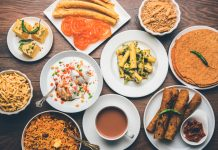 An array of healthy Indian snacks