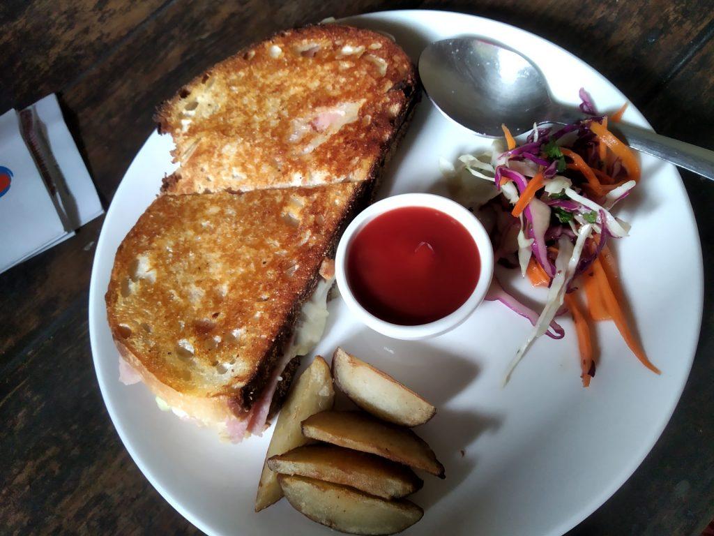 Sourdough bread sandwich at Cafe Bodega, Goa