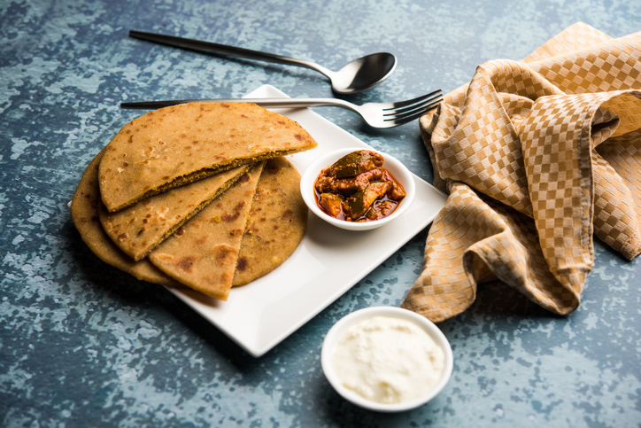 Indian breakfast, sattu ka paratha from Bihar