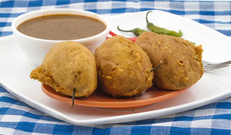 Indian breakfast, mirchi vadas from Rajasthan
