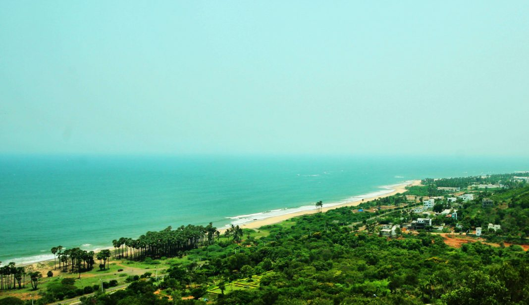 View of the Vizag Bheemli Beach Road from Thotlakonda Hill