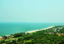 View of the Vizag Bheemli Beach Road from Thotlakonda Hill