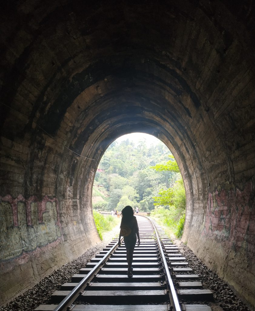 Walking along the tunnel on the trek to the Seven Arches Bridge, Ella