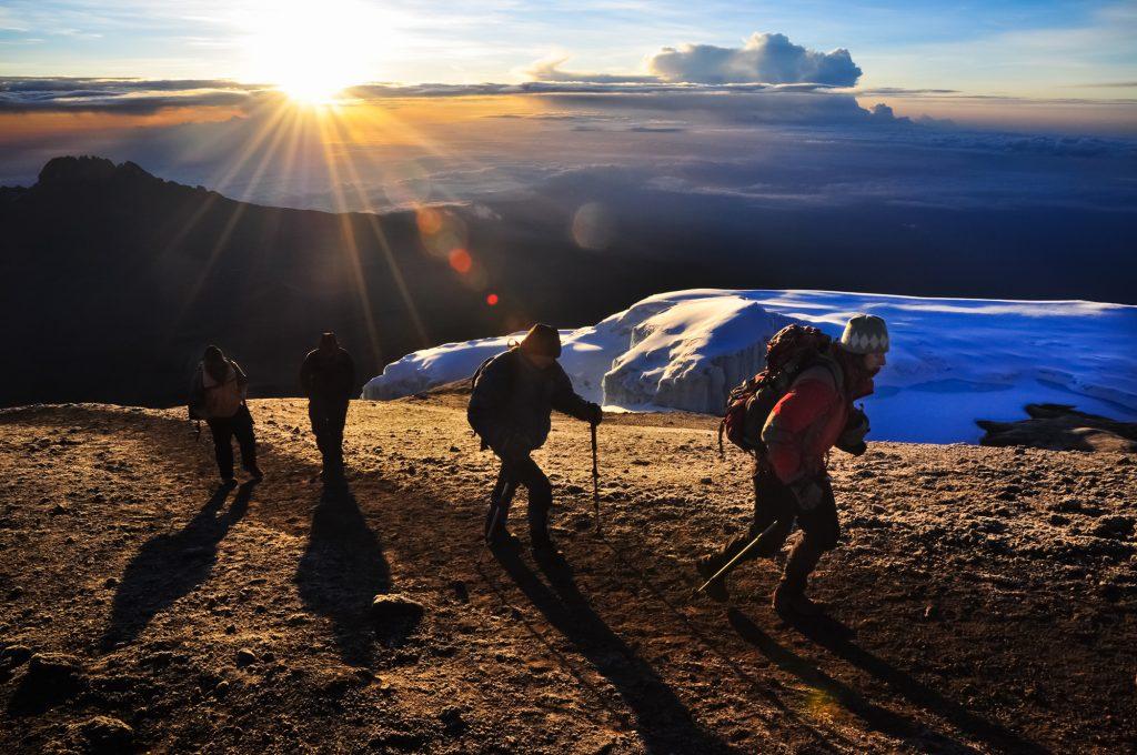 Climbers near the summit of Mt. Kilimanjaro, Tanzania.