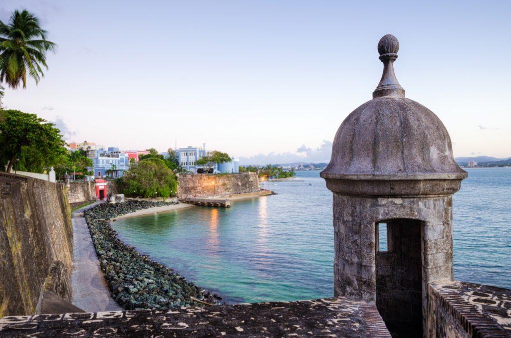 Turret along Old San Juan Wall in Puerto Rico.