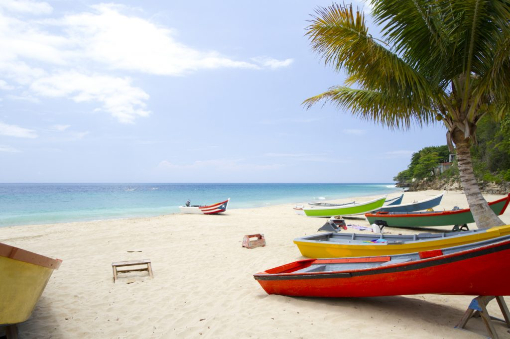 Boats on the beaches of Puerto Rico