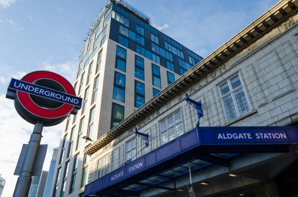 Entrance canopy to Aldgate Station which is on the London Underground Circle Line