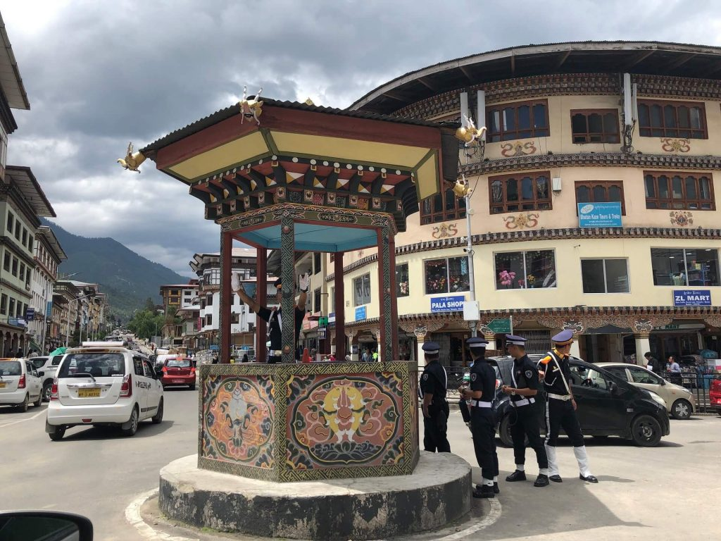 Traffic circle in Thimphu, Bhutan