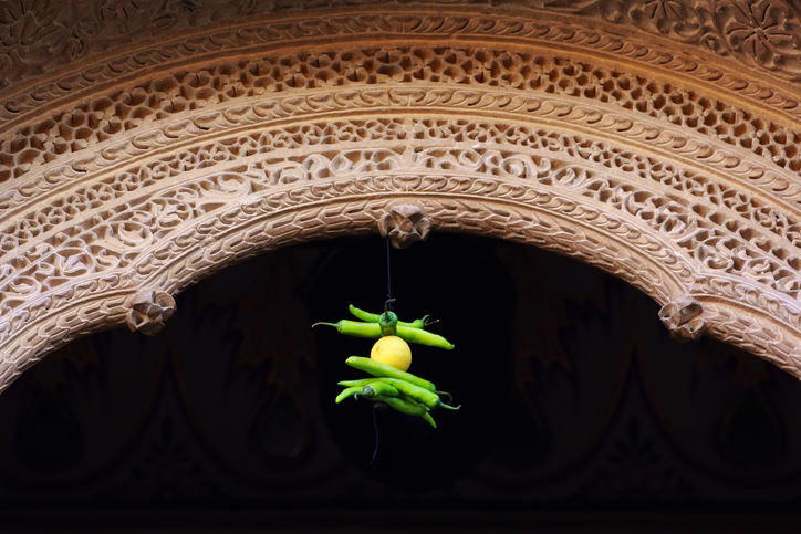 7 chili 1 lemon hanging at the facade as prevent home from bad thing culture india