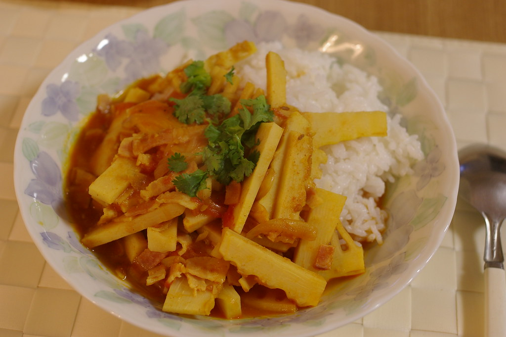 chicken with bamboo shoot, a dish from Assam