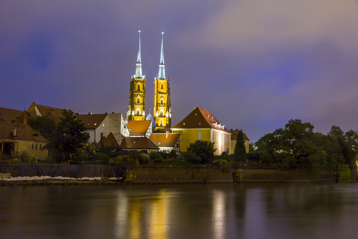 St. John's cathedral and Ostrow Tumski across the Odra river, Wroclaw, Poland