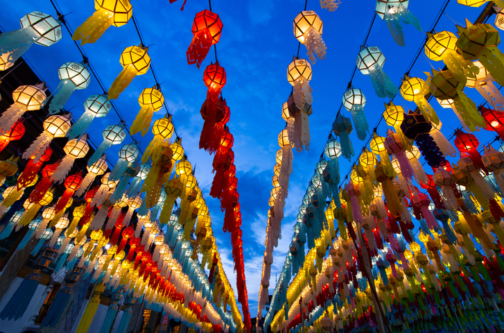 Lantern of Yeepeng Festival with blue sky in lamphun,Thailand