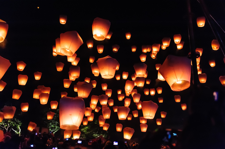Sky lanterns in Lantern Festival, Taipei, TaiwanSky lanterns in Lantern Festival, Taipei, Taiwan