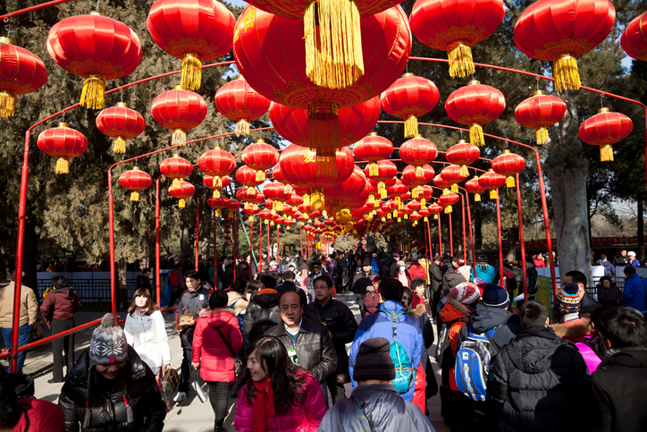 Beijing, China - January 27, 2012: Visitors enjoy the Spring Festival Temple Fair at Summer Palace, for the celebrations of the Chinese New Year.
