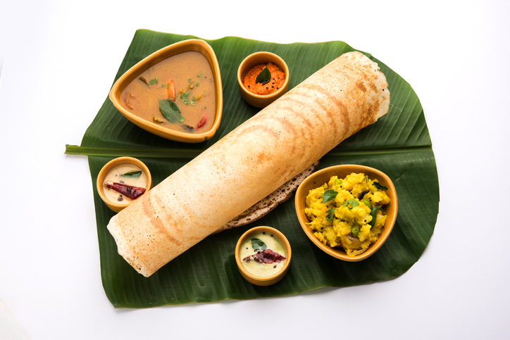 Mysore Masala dosa with chutney and sambar and potato sabzi