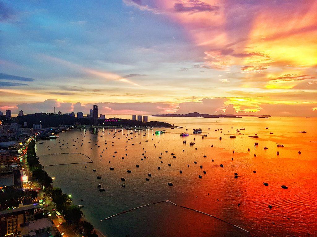 Pattaya cityscape bay viewpoint at sunset twilight, Thailand.