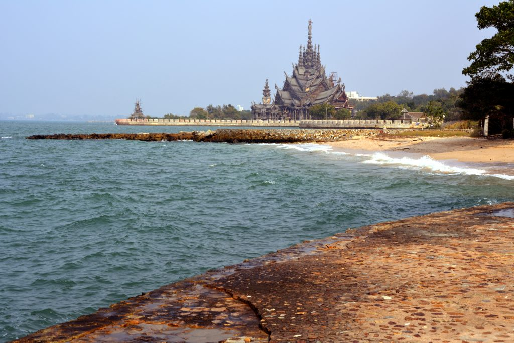 Nakluea beach in Pattaya and the Sanctuary of Truth in the background