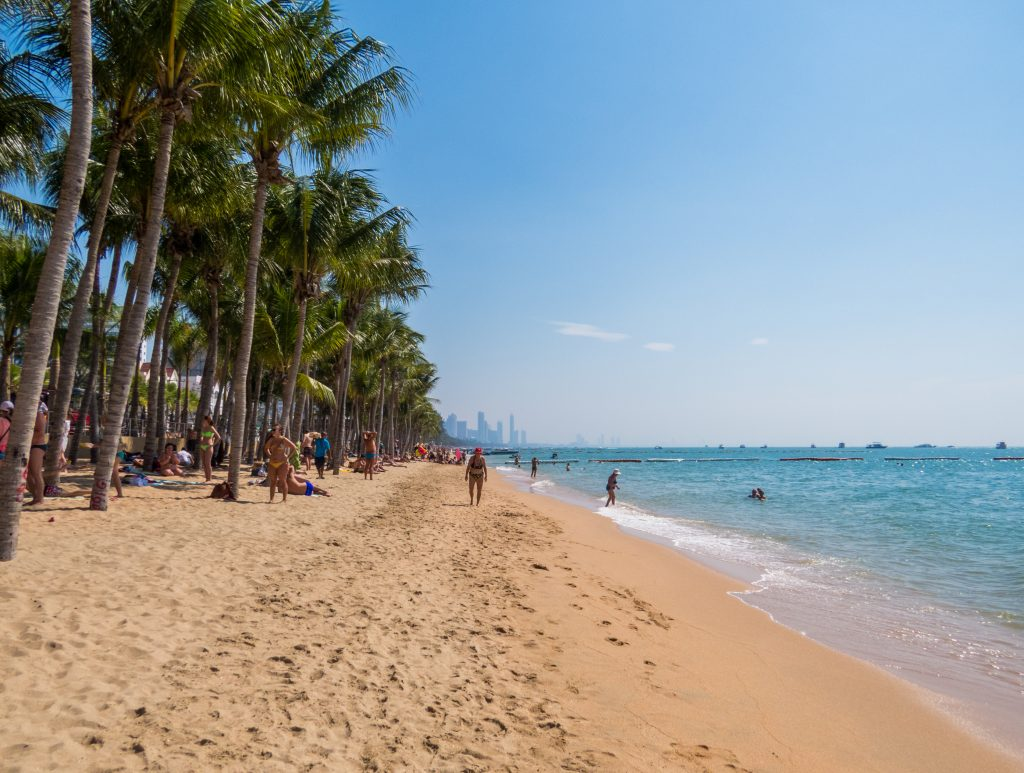 View of the Dongtan Beach in the Jomtien area, beaches in Pattaya