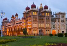 Mysore Palace at dusk, Mysore, India