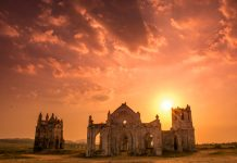 Ruined Church In Karnataka, India at Sunset