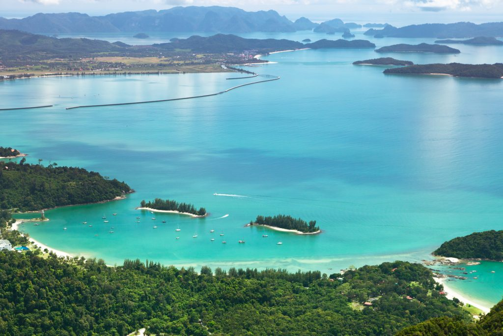 Sunny landscape with blue sea of Langkawi Island