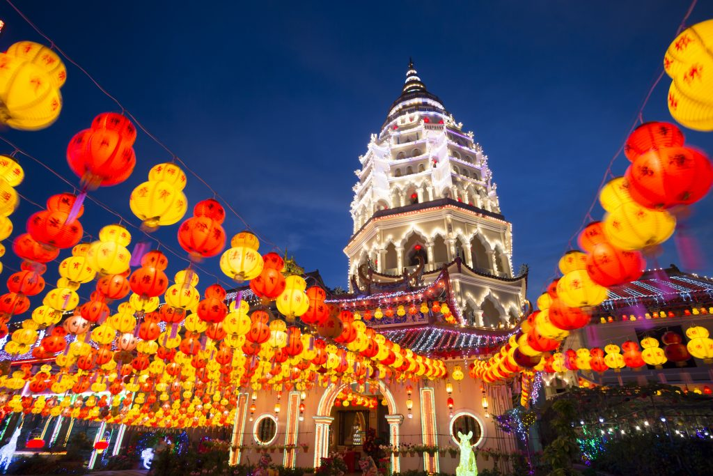 kek lok si temple in Penang illuminated at night chinese new year traditional festival