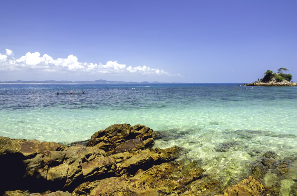scenic sea view of the Kapas Island at Terengganu, Malaysia.