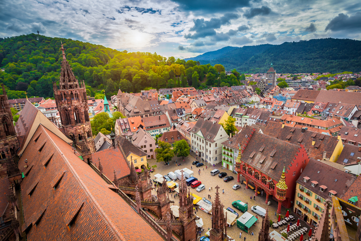 historic city center of Freiburg in Black forest in germany