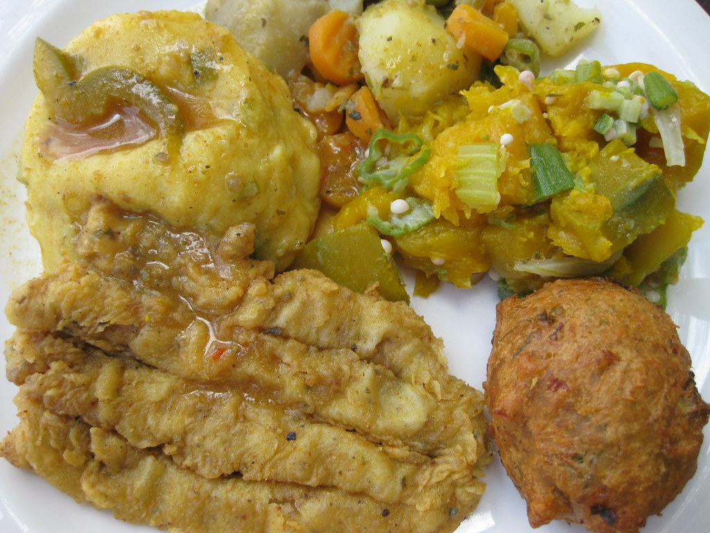 Caribbean dishes Flying Fish And Cou Cou From Barbados