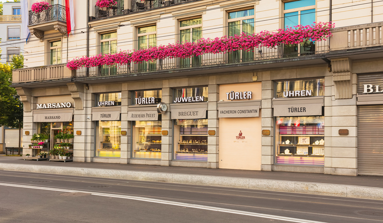 Stores on Bahnhofstrasse street in the city of Zurich