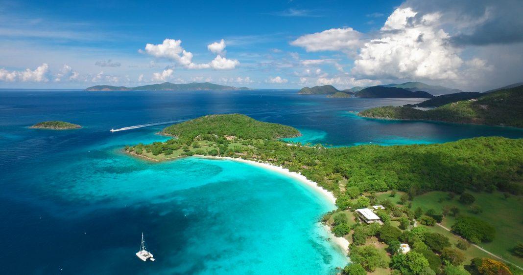 Aerial view of Caneel Bay and Hawksnest Bay, St.John, US Virgin Islands with Jost Van Dyke and Tortola, British Virgin Islands