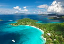 Aerial view of Caneel Bay and Hawksnest Bay, St.John, US Virgin Islands with Jost Van Dyke and Tortola, British Virgin Islands