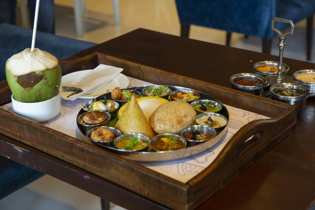 Delicious Hyderabadi food in a thali during staycation in Hyderabad Novotel hotel