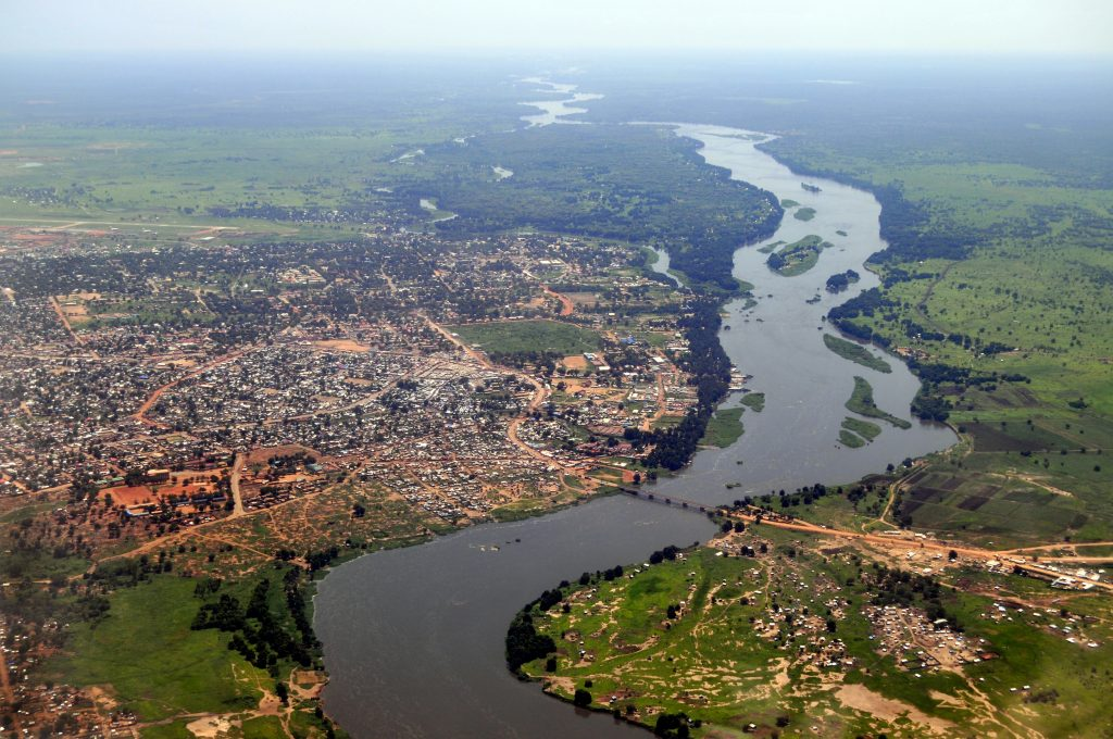 Aerial of Juba, the capital of South Sudan, with the river Nile running in the middle.