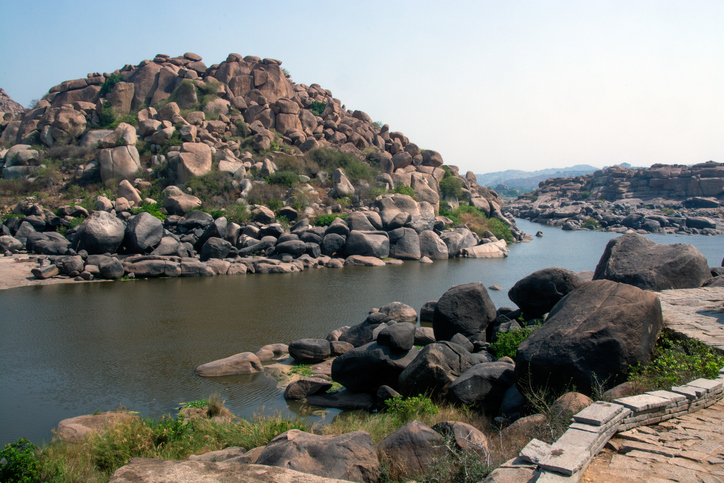 Tungabhadra river at Hampi Karnataka India