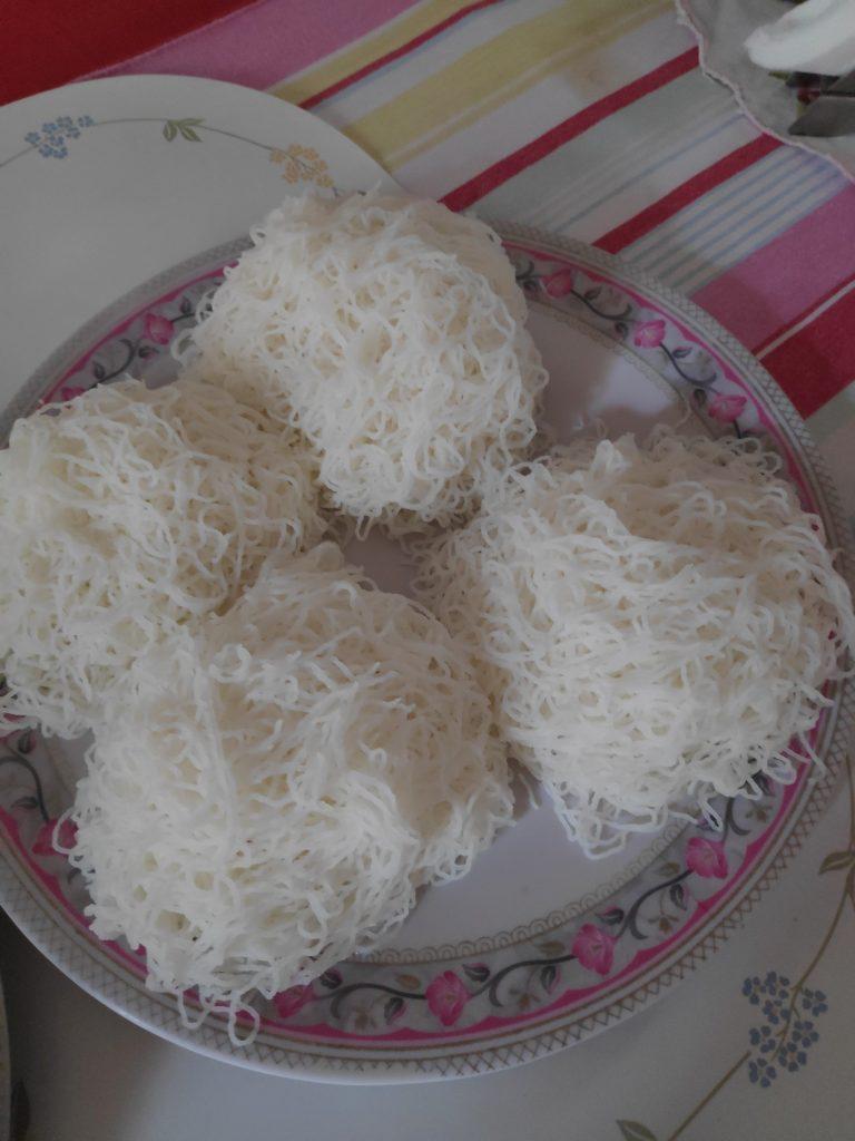 Coorgi food of Noolputtu or Steamed Rice Noodles