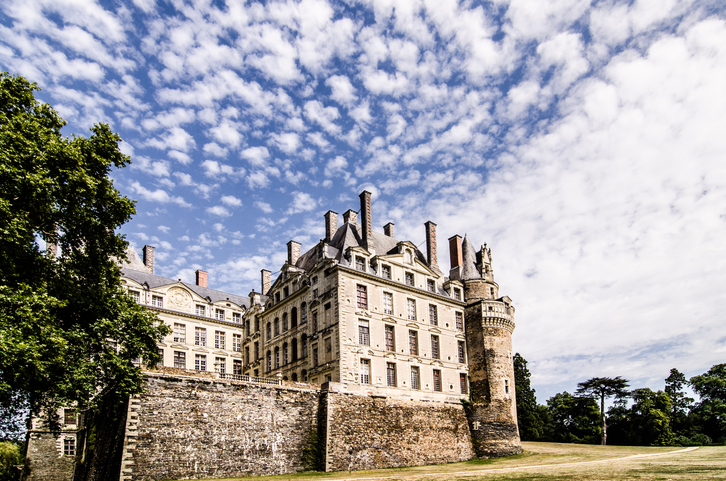 Val-de-Loire, France - August 23, 2013 : Side of Brissac Castle, most haunted places in the world