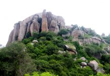 Interesting rock formation on hill at Ramagiri near Ramanagara, Karnataka, India, Asia