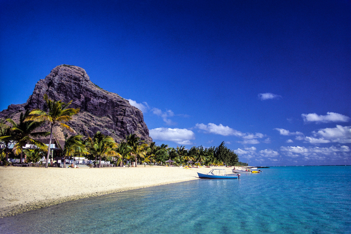 Le Morne, Black River Province, Mauritius – June 12, 2004: Beach at Le Morne Brabant, one of the finest beaches in Mauritius and the site of many hotels and tourism facilities, Places to visit in Mauritius