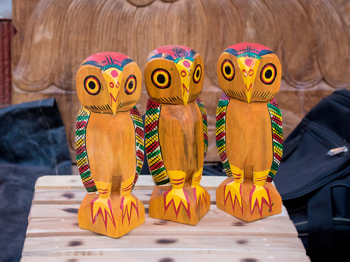 Handmade wooden colourful Channapatna owl toys