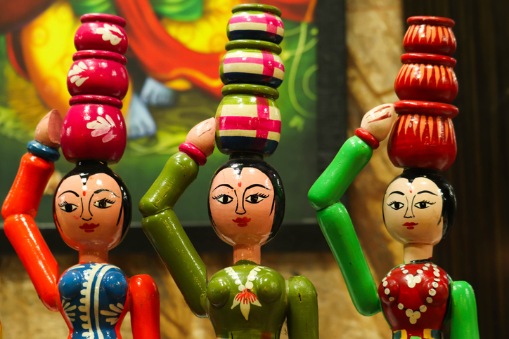 Handmade wooden colourful Channapatna ring toys