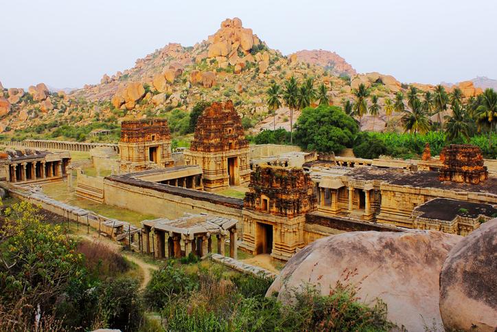 Achyutaraya temple ruins, a UNESCO heritage site in Hampi, India