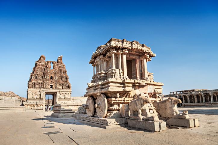 Stone Chariot and Vittala temple at Hampi, India