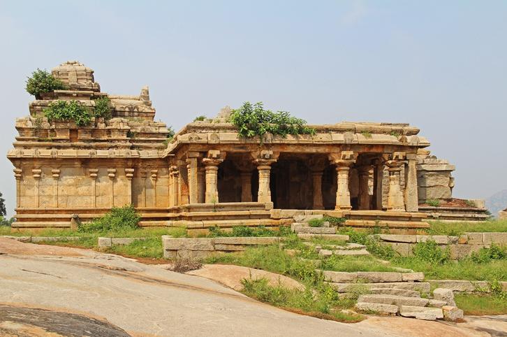An ancient temple complex Hemakuta hill in Hampi, Karnataka, India
